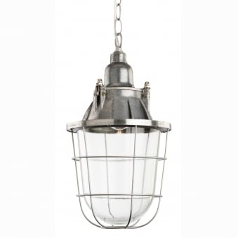 Bay Retro Industrial Pendant with Aluminium Frame and Clear Glass