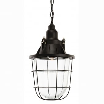 Bay Retro Industrial Pendant with Black Frame and Clear Glass