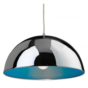 Bistro Pendant with Chrome Finish and Blue Inner