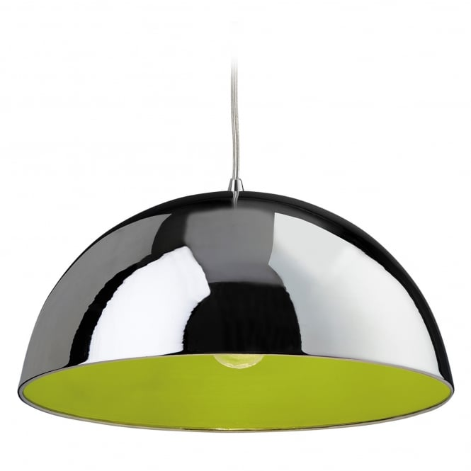 Firstlight Bistro Pendant with Chrome Finish and Green Inner