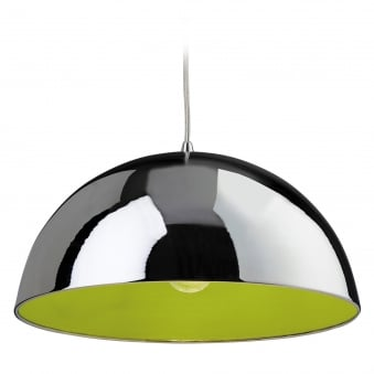 Bistro Pendant with Chrome Finish and Green Inner