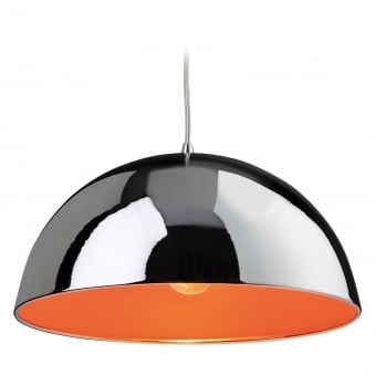 Bistro Pendant with Chrome Finish and Orange Inner
