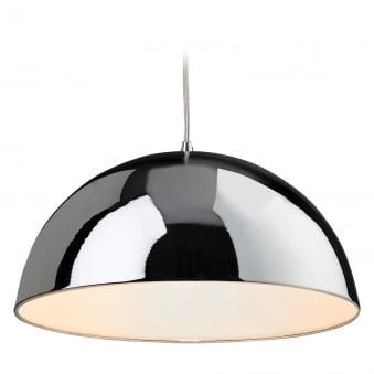 Bistro Pendant with Chrome Finish and White Inner