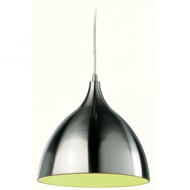 Firstlight Cafe Brushed Steel Pendant with Green Inner Shade
