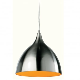 Cafe Brushed Steel Pendant with Orange Inner Shade