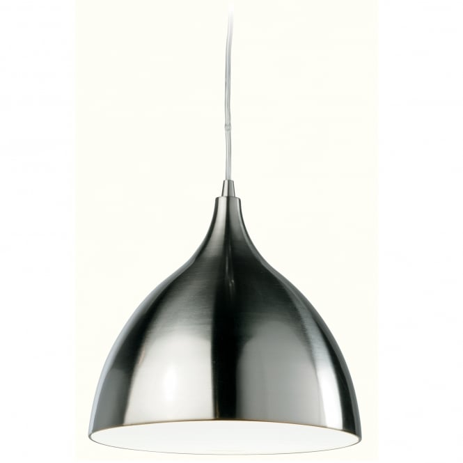 Firstlight Cafe Brushed Steel Pendant with White Inner Shade