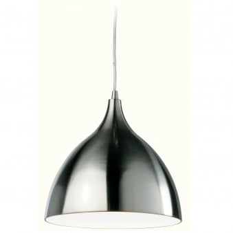 Cafe Brushed Steel Pendant with White Inner Shade