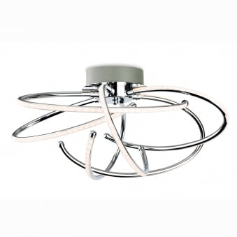 Caprice Spiral Chrome LED Semi Flush Ceiling Multi Arm LED Light