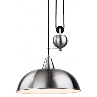 Century Rise and Fall Pendant Finished in Brushed Steel