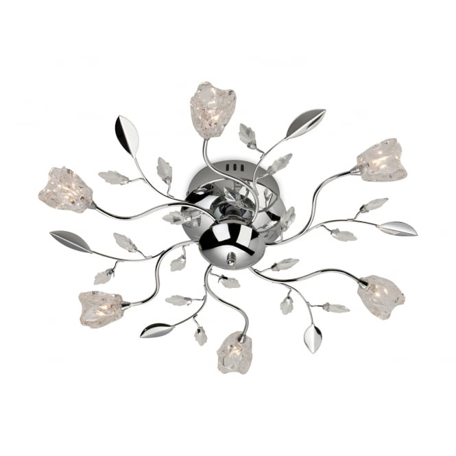Firstlight Cindy Six Light Flush Fitting Finished in Chrome with Clear Decorative Glass