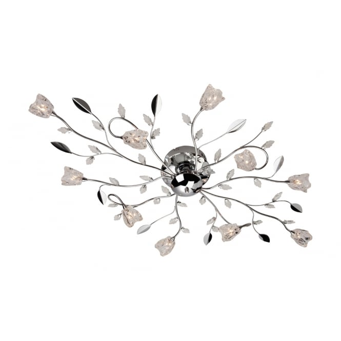 Firstlight Cindy Ten light Flush Fitting Finished in Chrome with Clear Decorative Glass