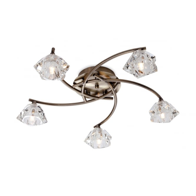 Firstlight Clara 5 Light Flush Fitting in Antique Brass with Clear Decorative Glass