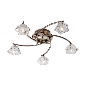 Clara 5 Light Flush Fitting in Antique Brass with Clear Decorative Glass