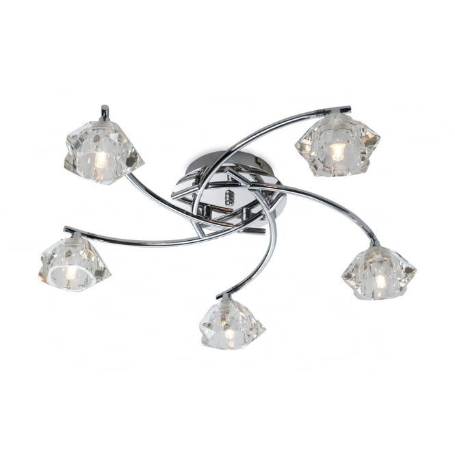 Firstlight Clara 5 Light Flush Fitting in Chrome with Clear Decorative Glass