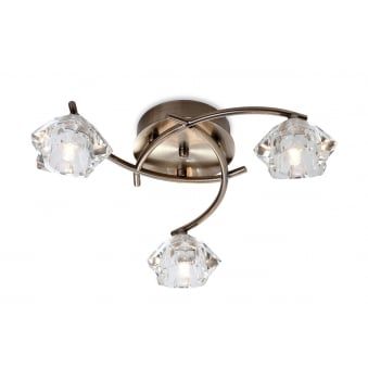 Clara Flush Fitting in Antique Brass with Clear Decorative Glass