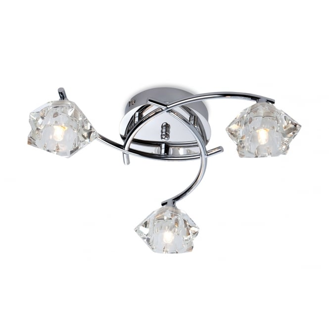 Firstlight Clara Flush Fitting in Chrome with Clear Decorative Glass