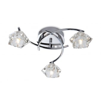 Clara Flush Fitting in Chrome with Clear Decorative Glass