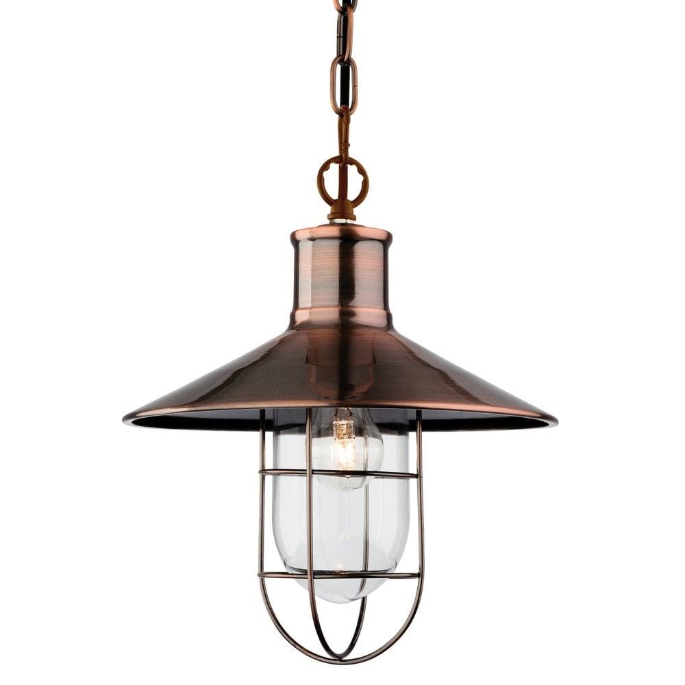 Crescent pendant light in antique copper