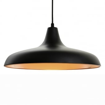 Curtis Slimline Pendant in Matt Black with Matt Copper Inner