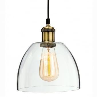 Empire 1 Retro Pendant in Antique Brass and Clear Glass