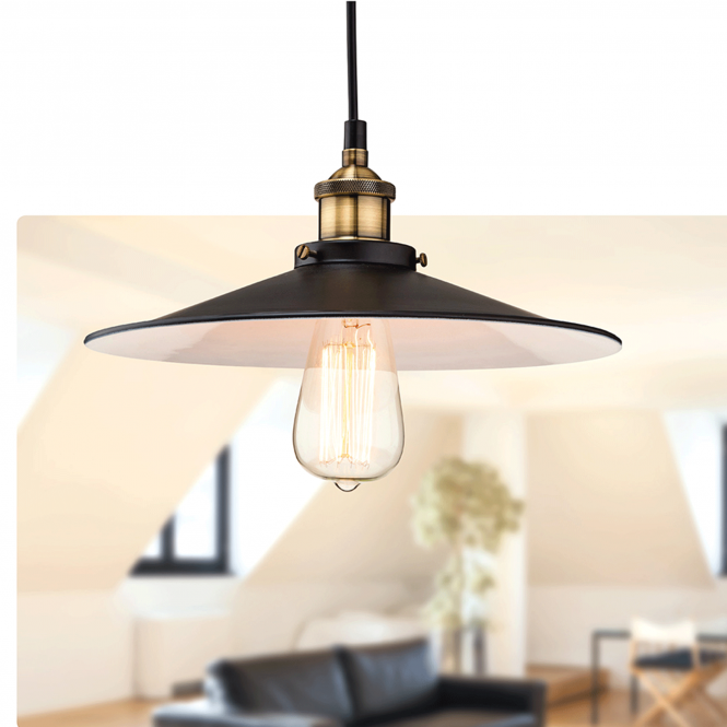 Firstlight Empire Pendant in Black and Antique Brass