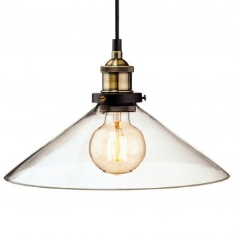 Empire Pendant in Clear Glass with Antique Brass