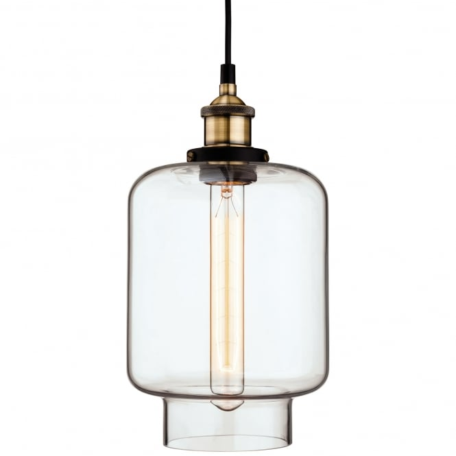 Firstlight Empire Pendant with Antique Brass and Clear Glass Finish