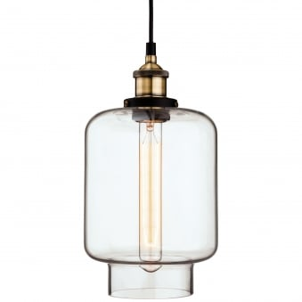 Empire Pendant with Antique Brass and Clear Glass Finish
