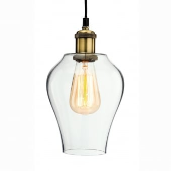 Empire Retro Pendant in Antique Brass and Clear Glass