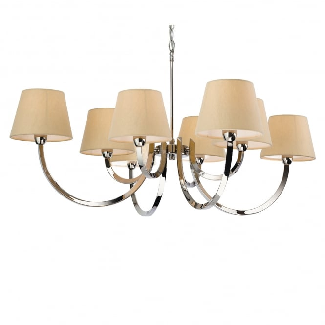 Firstlight Fairmont Eight Light Chandelier in Polished Stainless Steel with Cream Linen Shades