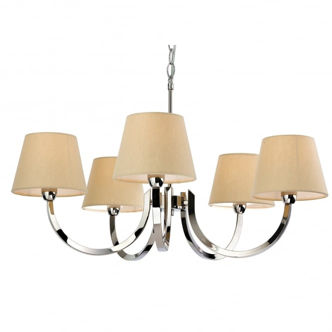 Firstlight Fairmont Five Light Chandelier in Polished Stainless Steel with Cream Linen Shades