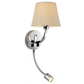 Fairmont LED Reading Wall Light in Polished Chrome and Cream Linen Shade