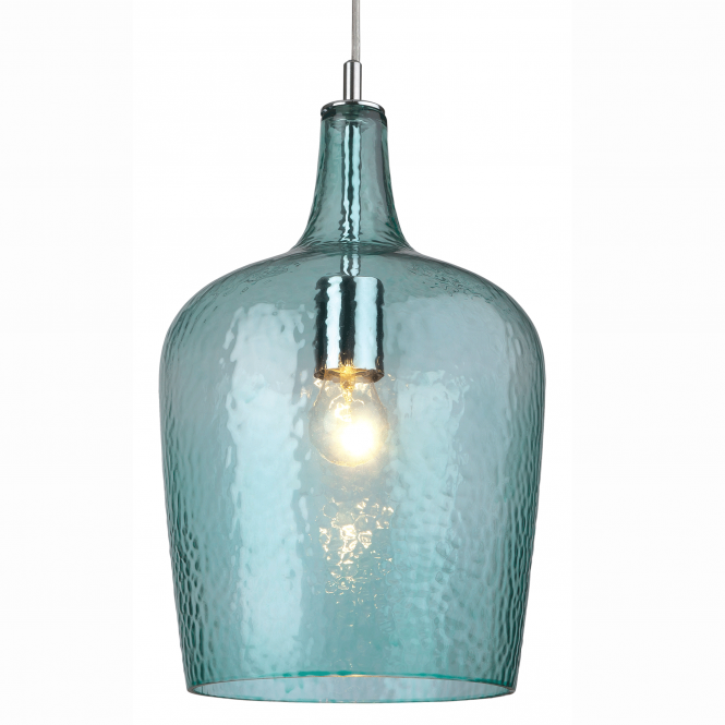 Firstlight Glass Pendant in Chrome with Aqua Glass