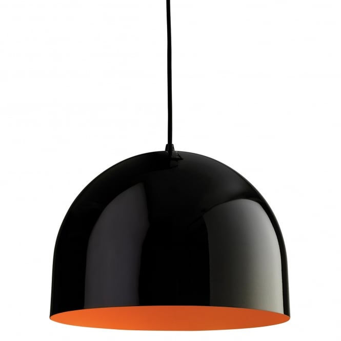 Firstlight House Pendant in Black with Orange Inner