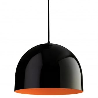 House Pendant in Black with Orange Inner