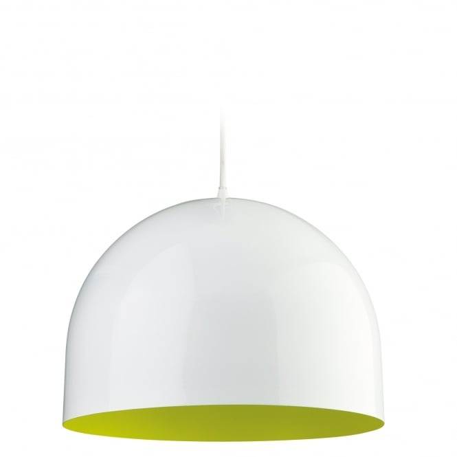 Firstlight House Pendant in White with Green Inner