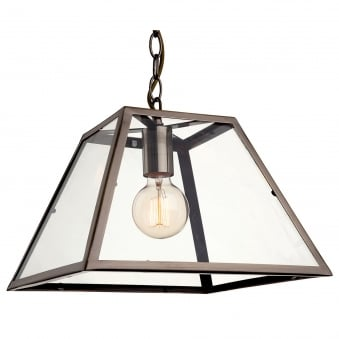 Kew Pendant Light in Antique Brass with Clear Glass