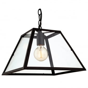 Kew Pendant Light in Black with Clear Glass