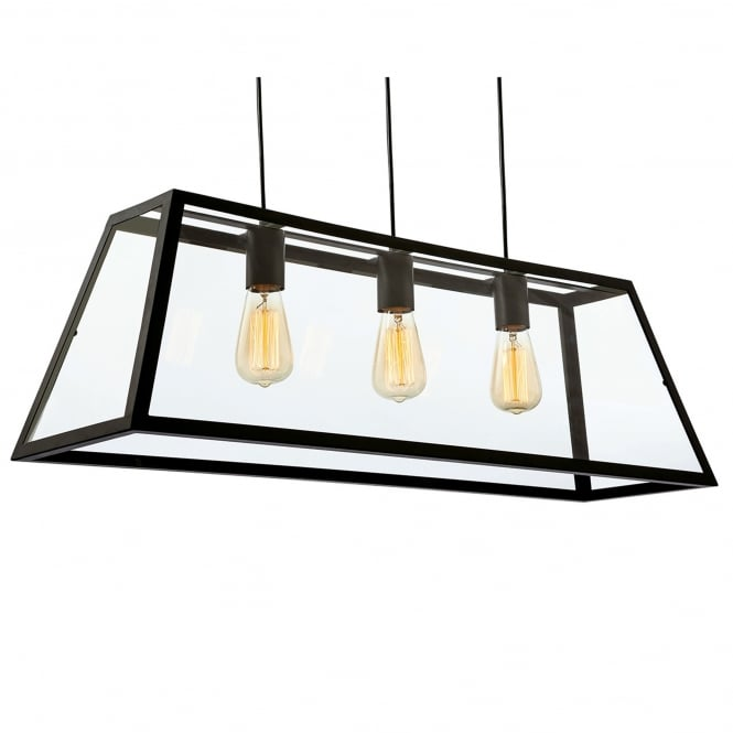 Firstlight Kew Triple Pendant in Black with Clear Glass
