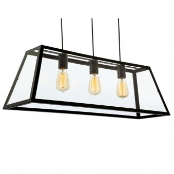 Kew Triple Pendant in Black with Clear Glass