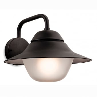 Lars Exterior Down Wall Light in Black with Frosted Glass