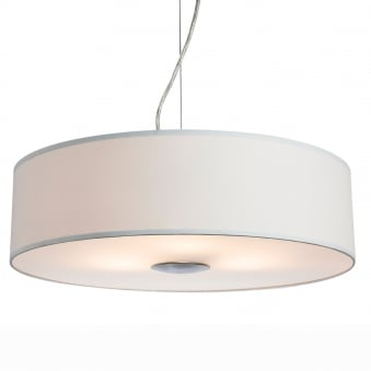 Madison Pendant Light in Cream Fabric with Diffuser