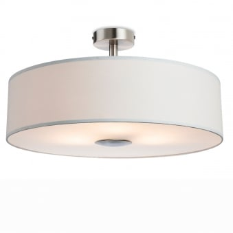 Madison Semi Flush Light in Cream Fabric with Diffuser
