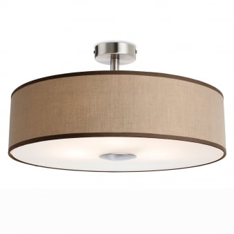 Madison Semi Flush Light in Taupe Fabric with Diffuser