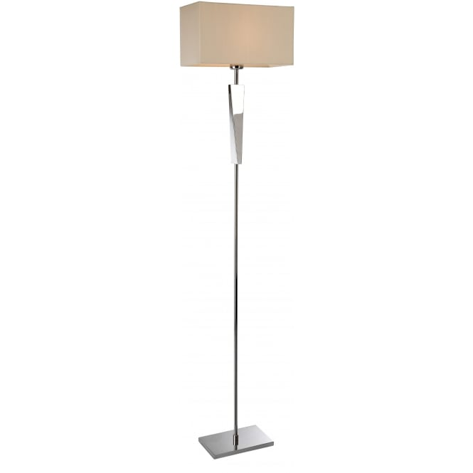 Firstlight Mansion Floor Lamp in Polished Stainless Steel with Cream Shade