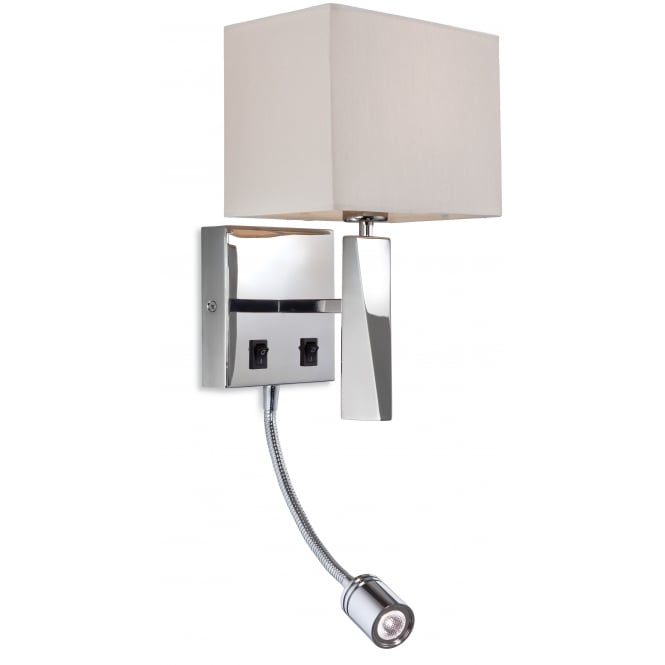 Firstlight Mansion LED Reader Wall Light in Polished Stainless Steel with Cream Shade