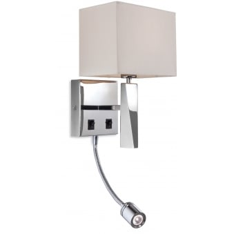 Mansion LED Reader Wall Light in Polished Stainless Steel with Cream Shade