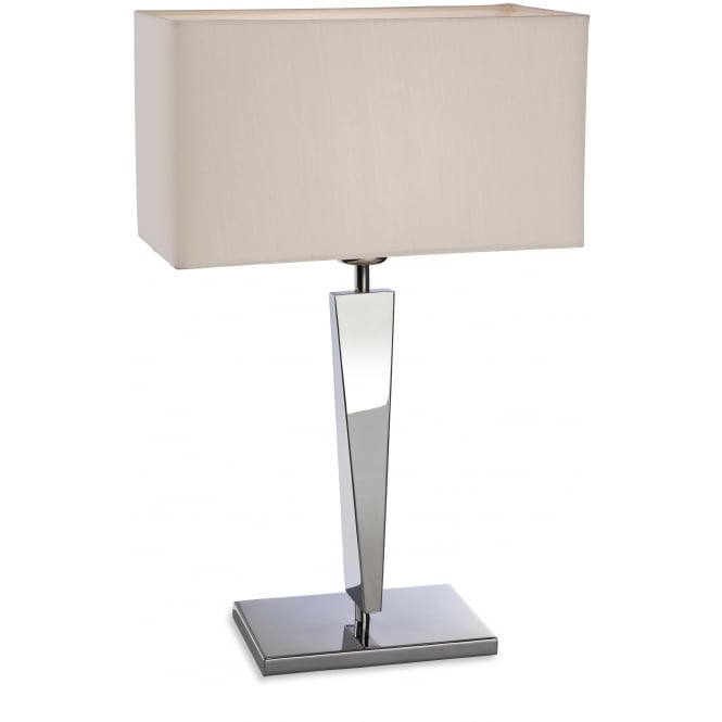 Firstlight Mansion Table Lamp in Polished Stainless Steel with Cream Shade