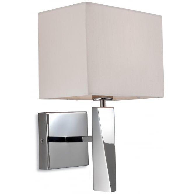 Firstlight Mansion Wall Light in Polished Stainless Steel with Cream Shade