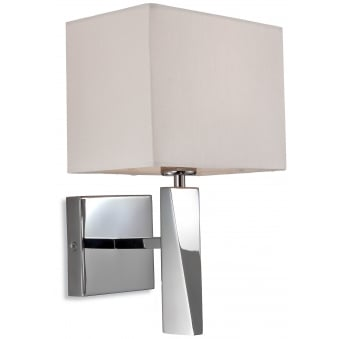 Mansion Wall Light in Polished Stainless Steel with Cream Shade